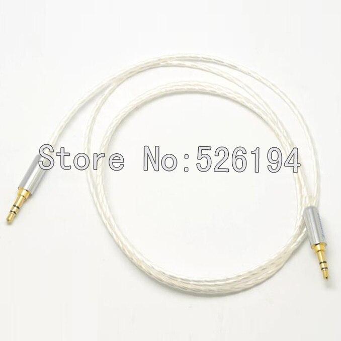 Envío Gratis Chapado en plata estéreo 3,5mm-3,5mm macho a macho Cable con 24 k oro 3,5mm enchufes