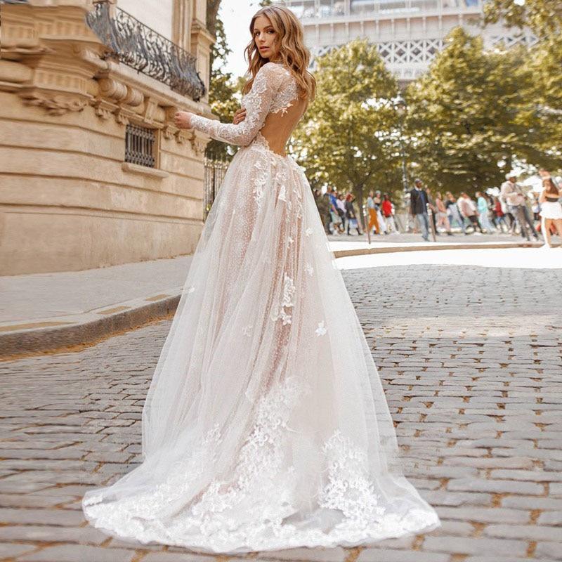 Long sleeve  sweetneck fashion design 3D flower appliques wedding dress  (2)