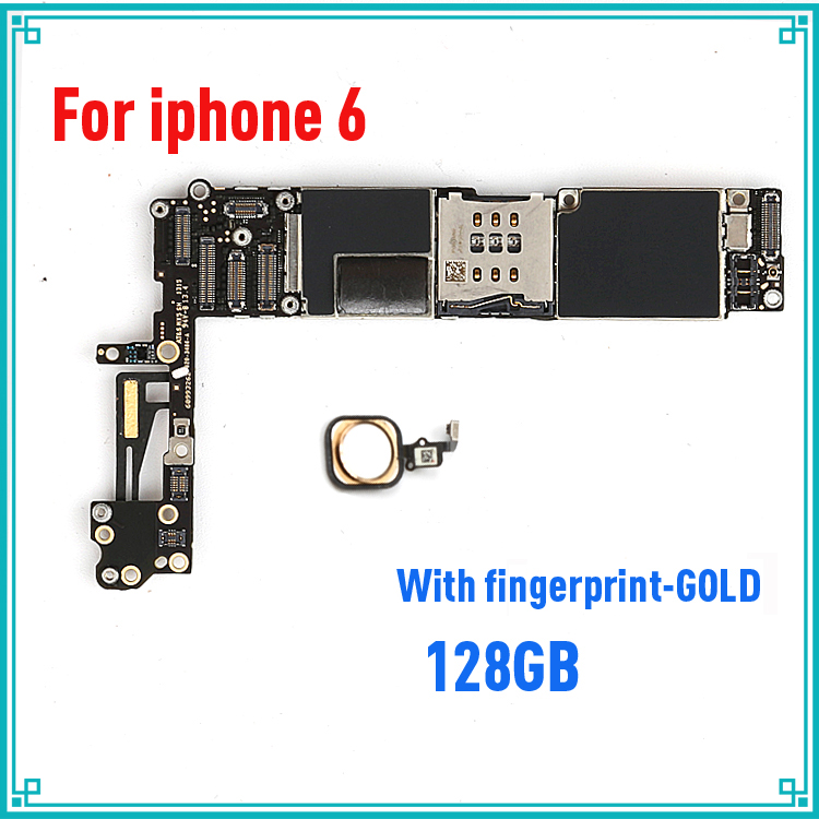 128gb Gold for iphone 6 Motherboard with Full Chips,Original unlocked for iphone 6 Mainboard with Touch ID,100% Good working