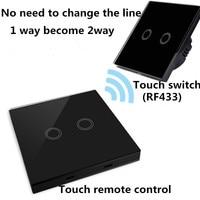 EU Standard 1 2 3 Gang 2 Way Remote Control Switch Glass Panel Lamp Switch Wall