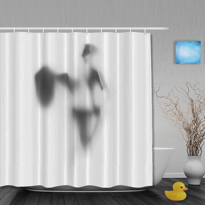 Halloween Bathroom Shower Curtains Funny Man Shadow Curtain Waterproof Polyester Fabric Custom Hooks