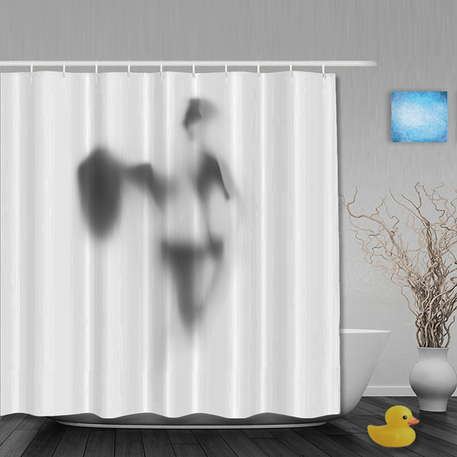 Halloween Bathroom Shower Curtains Funny Man Shadow Shower Curtain Waterproof Polyester Fabric