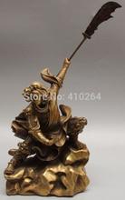 free shipping 14″Chinese Bronze Warrior War Guan Gong Dragon Lion Guan Yu Sword Buddha Statue
