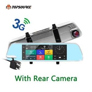 Зеркало TOPSOURCE с камерой заднего вида, 7 дюймов, 3G, GPS, двойная камера, объектив, Android, четырехъядерный, Full HD 1080 P, GPS навигация, 16 ГБ/1 Гб