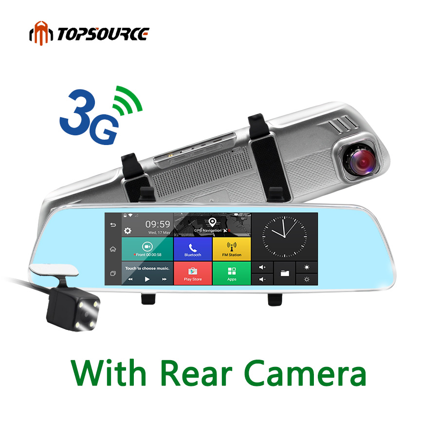 "TOPSOURCE 7"" 3G Dash Camera Mirror GPS Dual Camera LENS Android Quad-core Full HD 1080P GPS Navigation 16GB/1GB With Rear Camera"