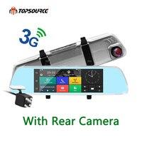 TOPSOURCE 7 3G Dash Camera Mirror GPS Dual Camera LENS Android Quad core Full HD 1080P GPS Navigation 16GB/1GB With Rear Camera