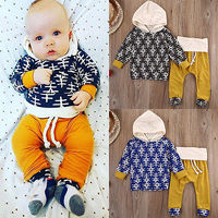 2cs Suit Newborn Baby Girl Boy Clothes Cute Hoodie Plaid Tops T Shirt Pants Winter Autumn