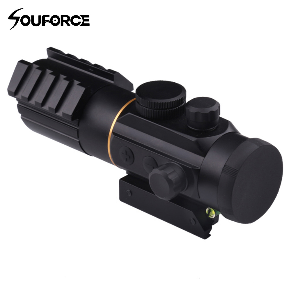 Tactical 3X42 Red Dot Sight 11mm/20mm Rail Mounts Scope with Spirit Bubble Level Fit Picatinny Riflescope for HuntingTactical 3X42 Red Dot Sight 11mm/20mm Rail Mounts Scope with Spirit Bubble Level Fit Picatinny Riflescope for Hunting