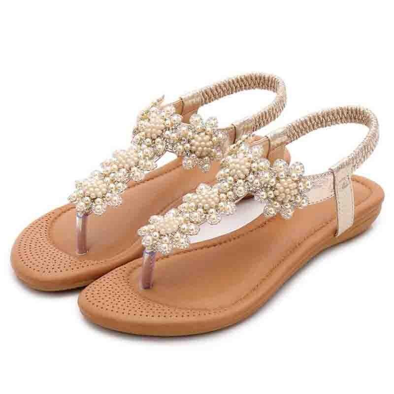Sandales bohème d'été diamant chaîne perle nationale semelle plate sandales pincées chevrons chaussures de mode pour femmes