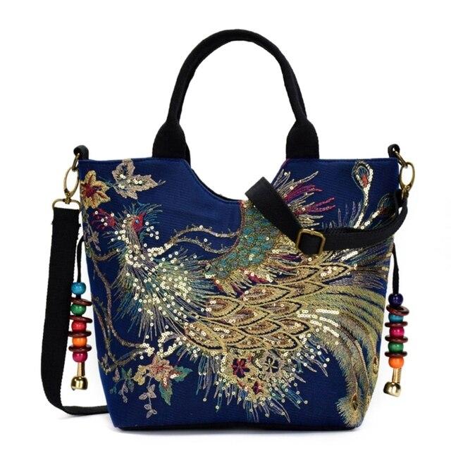 Bolso de mano étnico bordado para mujer, bandolera, bolso grande de hombro Vintage, de lona