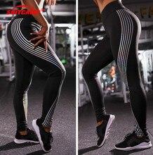 Reflective Leggings Glow in the Dark Night Light Stripes Laser Fitness Yoga Pants Tights Sportswear Tracksuit Women Female