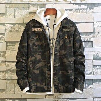 가을 유로 아메리카 육군 군사 데님 재킷 남자 카우보이 위장 전술 캐주얼 패션 폭격기 군사 오토바이 자켓