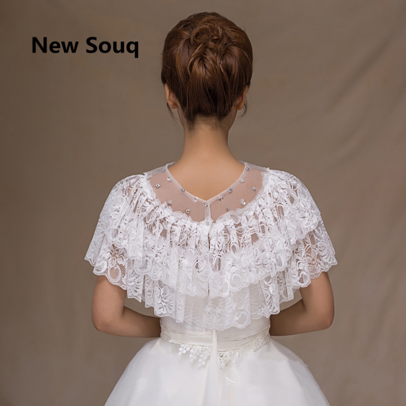 Two Layers Lace Summer Wedding Wrap With Crystal Bridal Wraps Wedding Jacket For Matching Weddings Accessories In Stock