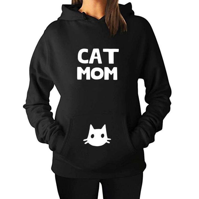 2018 Fashion Cat Mom Letter Print Hoodies Women Sweatshirt Harajuku Black Tumblr Funny Plus Size Aesthetic Shirt Coat Tops