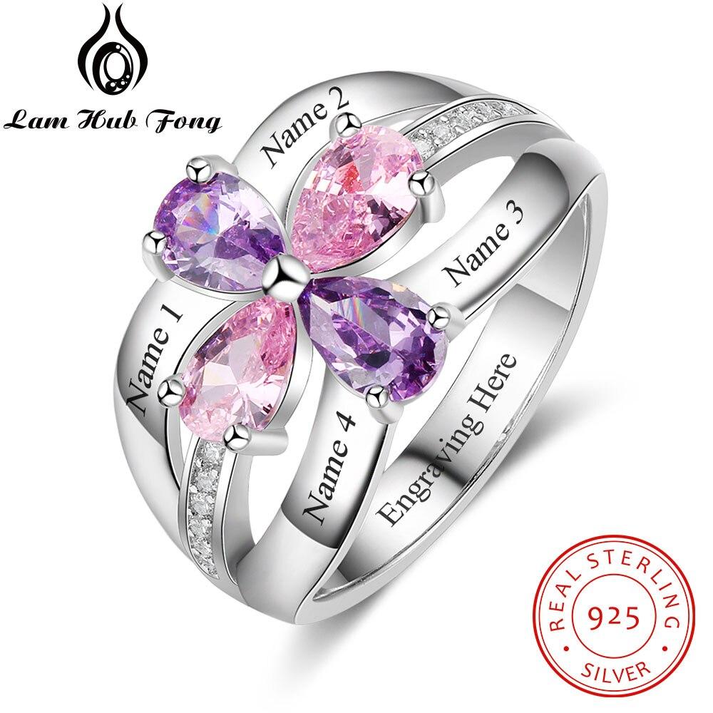 8b580b14a8c5 Personalizado 100% anillos de plata esterlina 925 para mujeres DIY Flor de  piedra nombre grabado anillo de compromiso (Lam Centro Fong)