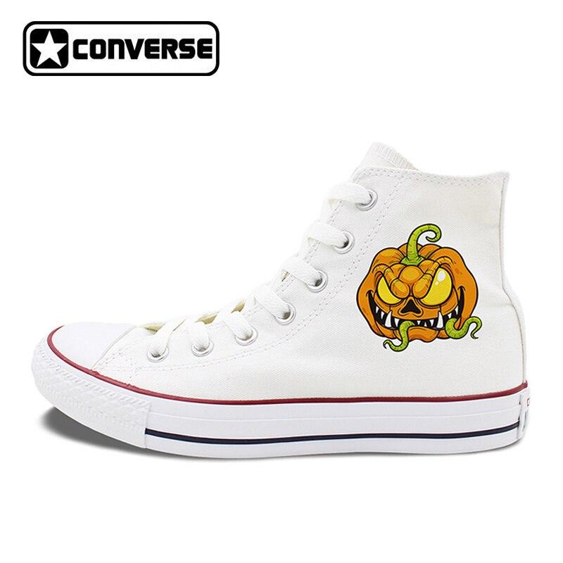 2 Colors Choose Design Halloween Creepy Pumpkin Zombie High Top Converse Chuck Taylor Shoes Unisex Canvas Sneakers другие товары для рождества creepy square