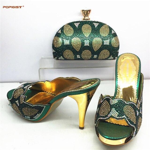 Italienische Passenden Schuh und Tasche Set Grüne Farbe High Heel schuhe  Dekoriert mit Blume Frauen Pumpen b5f6c3cce3