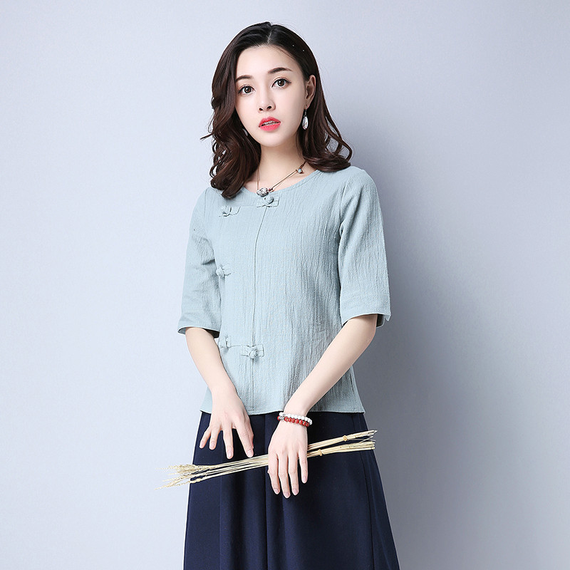 Cotton 2018 Summer Half Sleeve Loose Lady Vintage Women Shirt O Neck Chinese Style Linen T-Shirt Button 3XL 23