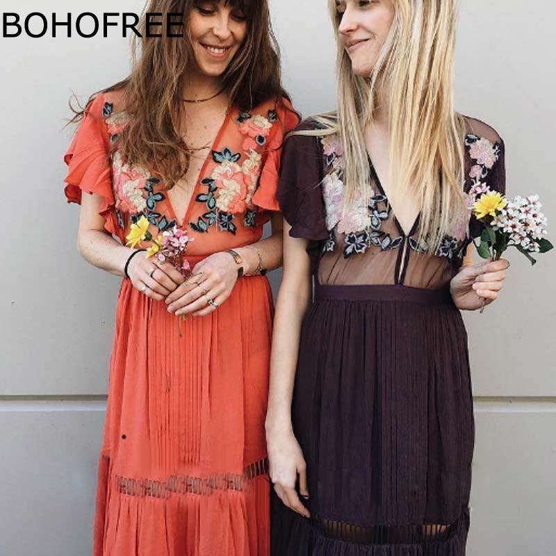 BOHOFREE 2018 nouveau printemps longue robe profonde décolleté en V pure Floral broderie Maxi robe bohème vacances robes femmes