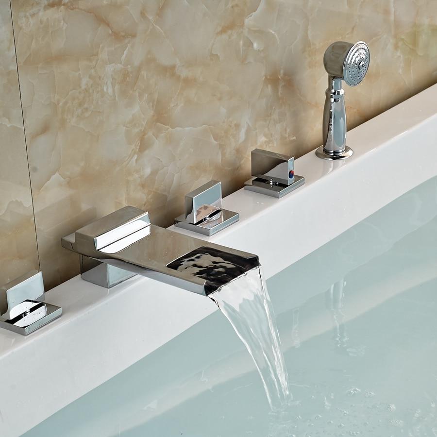 Solid Brass Widespread Bathroom Waterfall Spout Bathtub Sink Mixer Tap Sprayer