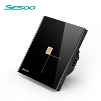 SESOO Remote Control Switch 1 Gang 1 Way SY6 01 Black RF433 Touch Wall Switch Touch