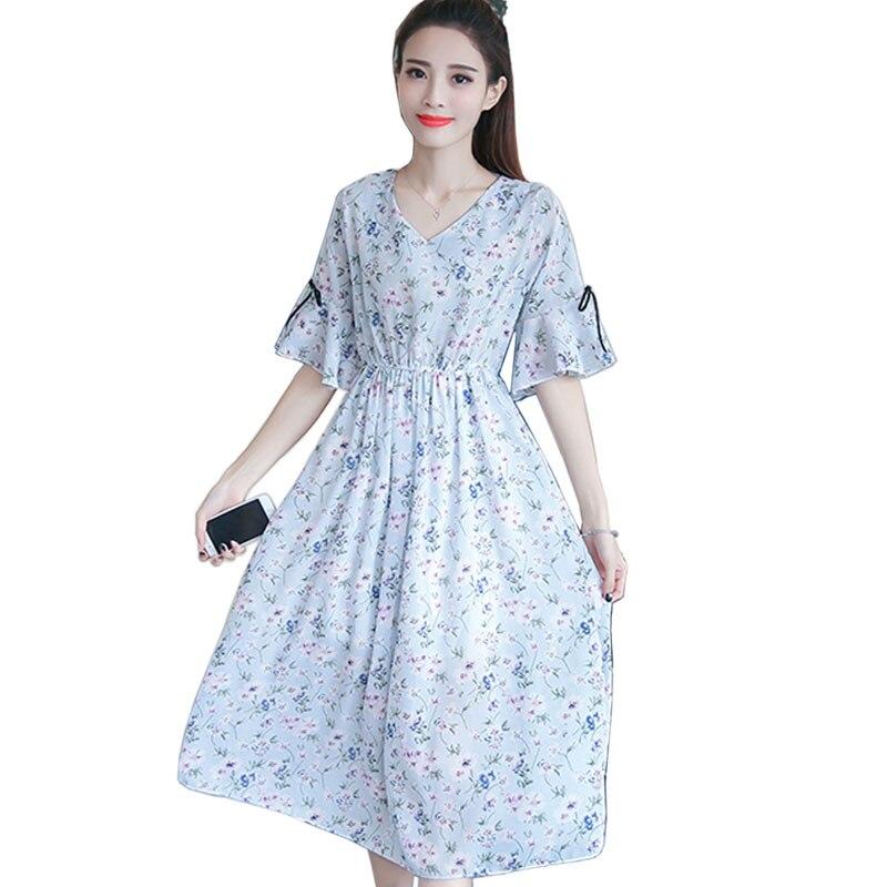 4a24d697e34 2018 летние платья сладкий изящное платье v-образным вырезом с цветочным  рисунком шифоновое платье Для женщин линии знакомства одежда Вечерн..