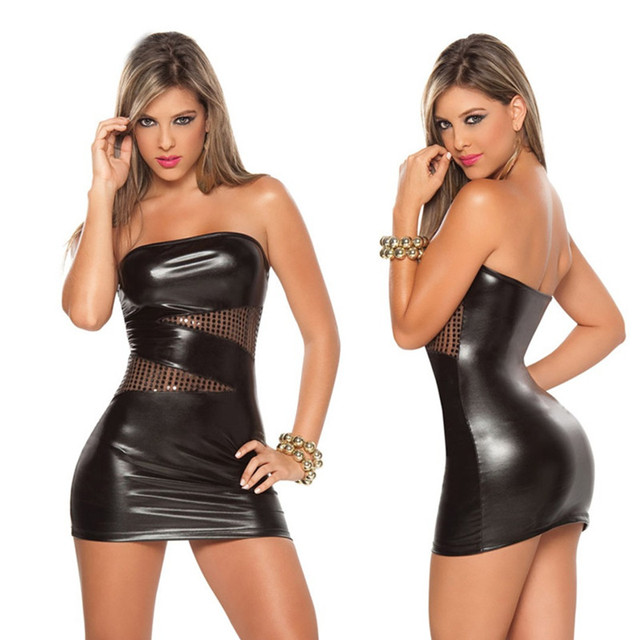 585786eb9b Hot Sexy Black Sliver Wet Look Mini Bodycon Night Clubwear Sleeveless PVC Faux  Leather Costume Latex Costume Pole Dancing Dress