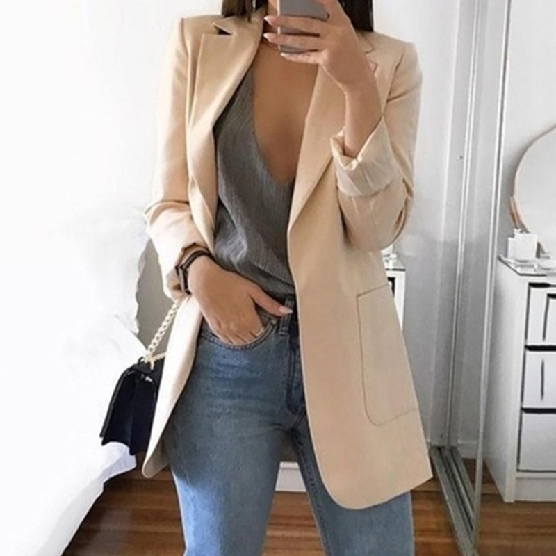 Casual Long Sleeve Solid Color Turn-down Collar Coat Lady Business Jacket Suit Coat Slim Top Women Blazers Female 2019 New