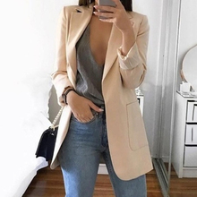 Casual Long Sleeve Solid Color Turn-down Collar Coat Lady Business Jacket Suit C