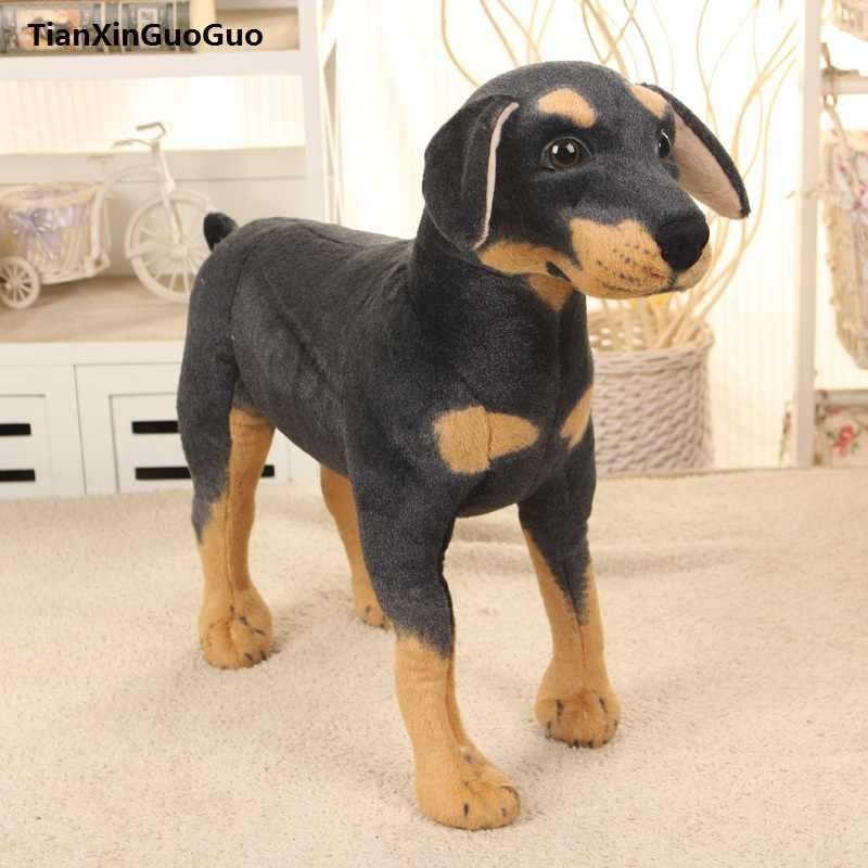 Большая 60x60 см искусственная Собака Ротвейлер стоящая Собака Ротвейлер плюшевая игрушка, Рождественский подарок h0780