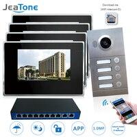 Ip домофон видео домофон Интерком видео дверной звонок 7 ''сенсорный экран для 4 отдельных квартиры/8 зоны сигнализации совместимая со смартфо