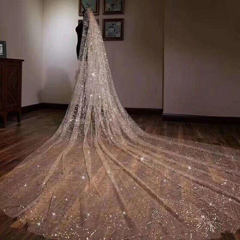 Luxurious Sparkling Golden Wedding Veils 5M Long Wedding Bridal Hair Accessories Wedding Accessories Bridesmaid Veils Bridal Acc