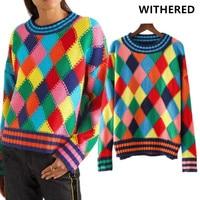 Verdorde 2017 nieuwe winter trui vrouwen vintage geometrie kleurrijke plaid Handgemaakte o-hals vrouwen truien en pullovers vrouwen tops
