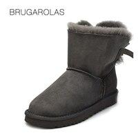 Nuovo Arrivo di Alta Qualità Genuina Lana Impermeabile Genuino Donne di pelle di Pecora Snow Boots All'ingrosso Inverno Scarpe Calde