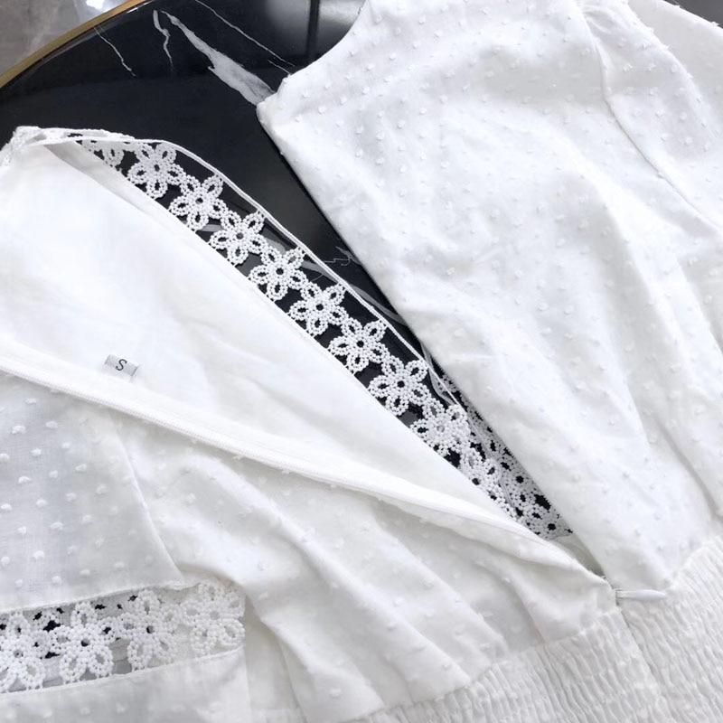 Élégant Dentelle Robes À Évider Nouveau Pour Les Col 2019 V Mini Mode De Manches Blanches Robe En Femmes Longues xqnBqwOIr