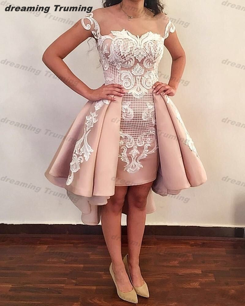 2019 Pink Cocktail Dresses With Detachable Train Sheer Backless Appliques Cap Sleeves Mini Short Sheath Prom Evening Gowns