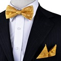 New Floral Solid Yellow Gold Tuxedo Bow Tie Pre-tied Mens 100% Silk Handkerchief Set Adjustable For Men Business Casual Party