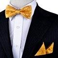 Nueva Floral Sólido Oro Amarillo Tuxedo Pajarita pre-atado Mens 100% Seda Pañuelo Set Ajustable Para Los Hombres de Negocios Fiesta informal