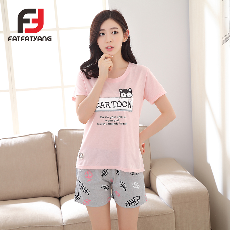 Pink Korean Style Women Pajamas Set Summer Cat Print Tees+Shorts O-neck Cotton Leisure Suit Girl Pijamas Mujer Home Nightshirt