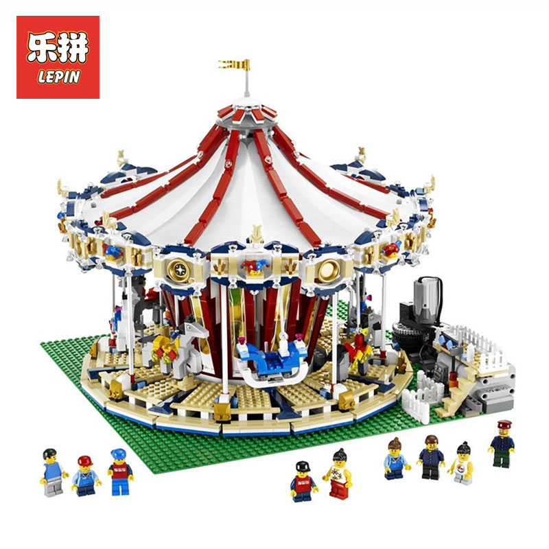 LEPIN 3263PCS 15013A City Street Ceator Carousel Model Building Kits Blocks Toy amusement park LegoINGlys 10196 Birthday Gifts lepin 15013 city street carousel model building kits assembling blocks toy legoing 10196 educational merry go round gifts