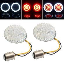2 Bullet Style 1157 1156 LED Inserts Front Rear Turn Signal Light Panel For Harley Sportster XL Softail Touring Dyna 2011-2019