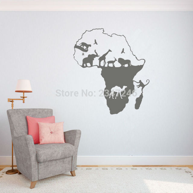 African Animal Map Wall Decal Continent Animal Wall Art Sticker - Wall decals animalsanimal wall decal animals wall art stickers animal wall