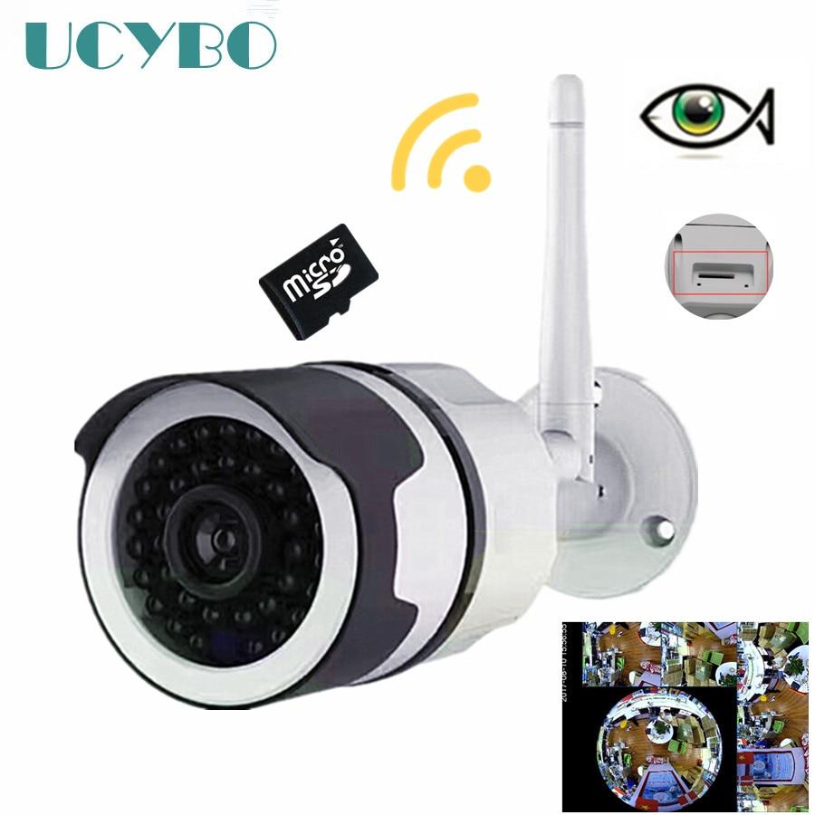 Sans fil wifi ip caméra fisheye 960 P Bullet extérieure Panoramique 1.3mp webcam de sécurité vidéo surveillance IR ip caméras SD Carte