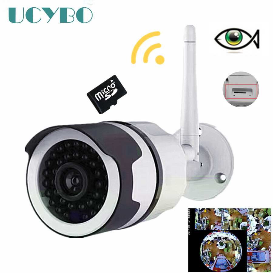 цена wireless wifi ip camera fisheye 960P outdoor Bullet Panoramic 1.3mp security webcam video surveillance IR ip cameras SD Card