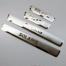 Para Hyundai Solaris 2012-2016 Sedán Hatchback Puerta de Acero Inoxidable Tira Alféizar Pedal Bienvenida Styling Car Stickers Accesorios