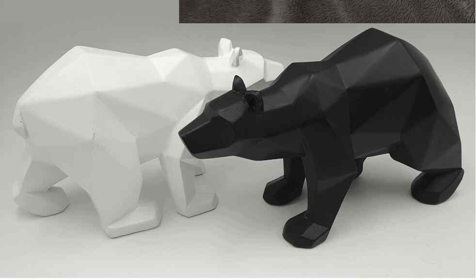 Panther Hitam Patung Geometris Resin Leopard Patung Hewan Dekorasi Hadiah Kerajinan Ornamen Aksesoris Perabotan Bear Patung
