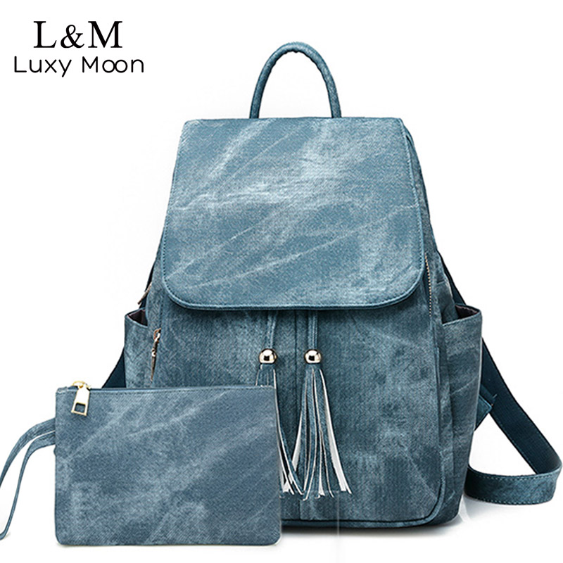 Women Backpack Vintage 2Pcs Schoolbags for Teenager Girls Casual Leather Daypacks Multifunction Female Travel Backpacks XA501H