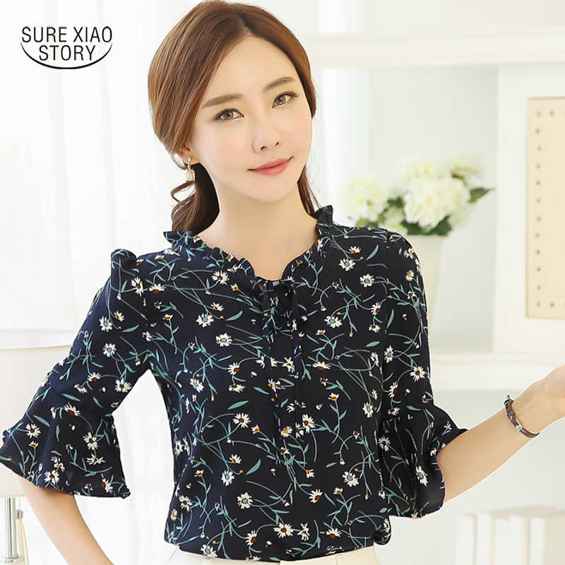 b277a8577807 Detail Feedback Questions about 2019 Summer Fashion Ladies Floral Print  Chiffon Blouse Bow Neck Shirt Short Sleeve Women Tops Plus Size Blusas  Femininas 37i ...