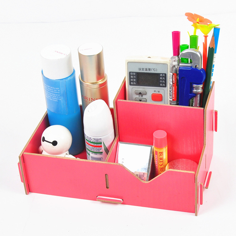 DIY Wood Pen Holder Hand Made Assembling Desk Organizer Pen Pot School Office Supplies Pen Stand Creative MDF Wooden Board
