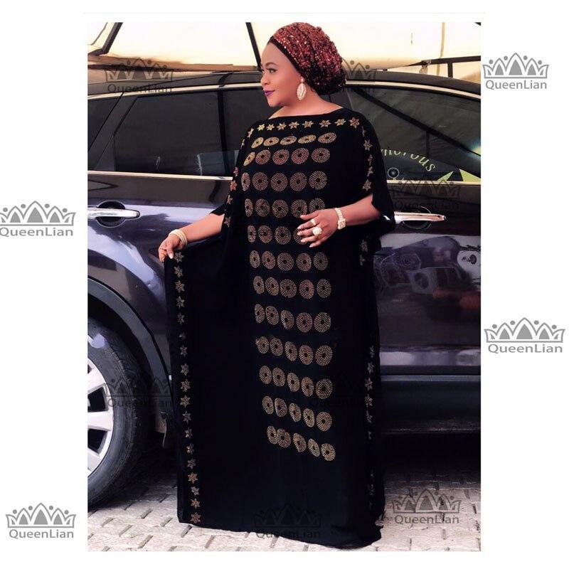 2019 New African  Diamond 100% Cotton Chiffon Long Dashiki Dress For Lady  Length :140cm  Wide:115cm (zuan#)